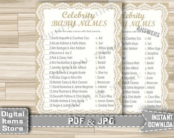 Baby Shower Celebrity Baby Game Printable - Celebrity Baby Shower Game, Burlap Lace Celebrity Baby Name Game - Instant Download - bl1