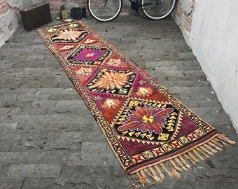 FREE SHIPPING! Long Runner Rug 3.1x12ft Oushak Runner Rug Vintage Kars Kilim Rug Turkish Kilim Rug Kilim Runner Rug Oushak Rug Turkish Rug
