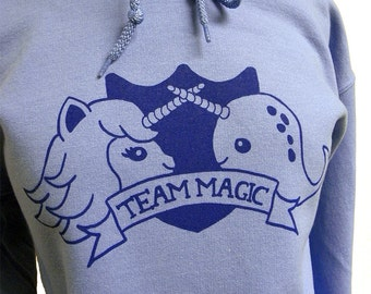 Narwhal Unicorn Sweater - TEAM MAGIC Hooded Sweatshirt - (Unisex Sizes S, M, L, XL)