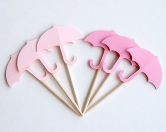 Umbrella Baby Shower Cupcake Toppers | Toothpick | Umbrella Food Picks | Bridal shower | Appetizer Picks | Shower Food (Set of 12)