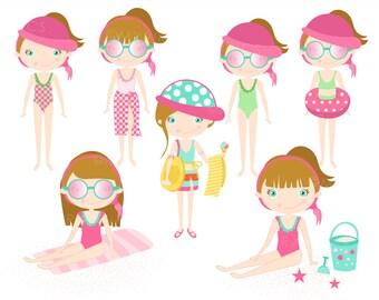 Summer Girl Clipart - girls beach,girls clipart,beach clipart set,summer clipart, beach character, beach girl clipart, Commercial Use- MPG50