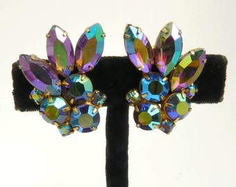 Vintage Rhinestone Clip Earrings Purple Borealis Rhinestones