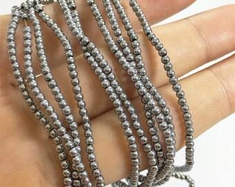 2mm Silver Hematite Beads, Round Hematite Beads, Hematite Jewelry
