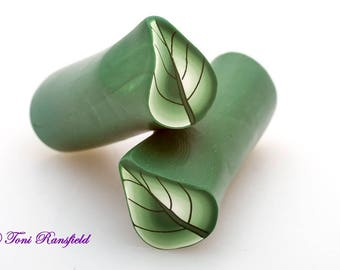 Dark Green Shaded Leaf Polymer Clay Cane, Raw polymer Clay Cane, Millefiori Polymer Clay