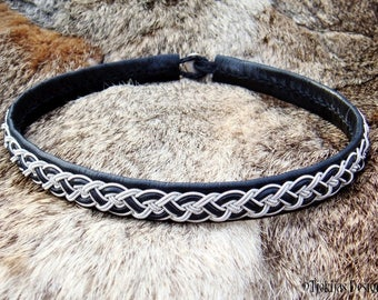 NIFLHEIM Sami Necklace, Black Leather Collar, Viking Choker with Pewter Braid