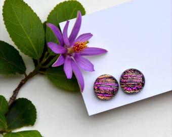 298 Fused dichroic glass earrings, slightly oval, pink striped
