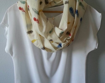 Infinity Scarf, Circle Scarf,  Organic Cotton, Voile, spring and summer scarf, feathers on cream