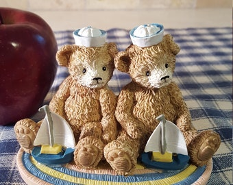 TWIN BOYS Tender Teddy Bears Collectible Brothers Sailboat Nautical Sailor Hat Blue Vintage Nursery Decor Figurine Hard to Find Gift Idea