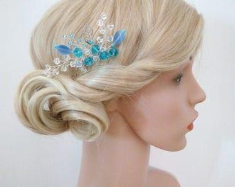 Blue Hair Comb Wedding Hair Comb, Blue Hair Accessory, Blue Bridal Hair Comb, Silver Leaf hair Comb, Blue Headpiece, Blue Head Piece