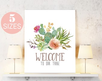 Welcome print, succulent art, cactus art, home poster art, floral printable, inspirational art, flower wall art, home decor, welcome home