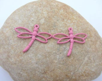 The Lot(Prize) of two pendants, charms, pink dragonflies