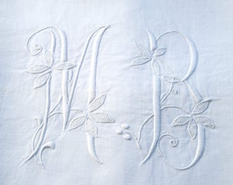 Antique French Pure Linen Sheet Top Monogram MB Deep Jours to Hem