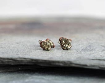 Pyrite Stud Earrings - Raw Stone Posts - Sterling Silver Earrings - Electroformed Fools Gold