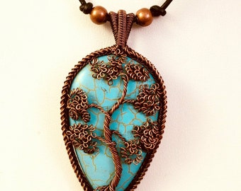 Howlite pendant tree of life pendant copper tree of life