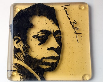 James Baldwin Fused Glass Coaster, Famous Author Coaster, Glass Drink Mat, Themed Bar Coasters, Cafe Decor, Bar Accessories