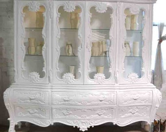 Painted Cottage Chic Shabby White Romantic French China Cabinet CC1047