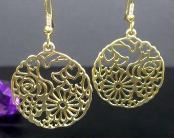 Gold dangle earrings, stainless steel earrings, nickel free, gypsy earrings, big earrings, large round gold earrings, ready to ship