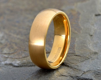 Mens Titanium Wedding Band, Yellow Gold Plated Brushed Domed Ring, His, Hers,Titanium Anniversary Rings, Bands, Custom Titanium Rings 7mm