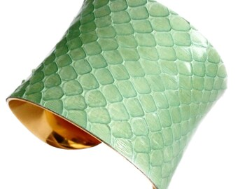 Glossy Mint Green Snakeskin Silver Cuff Bracelet - by UNEARTHED