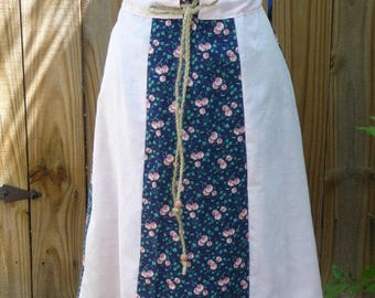 Handmade Skirt, Paneled Skirt, Vintage Fabrics, Blue Pink, Flowers, Drawstring Waist, Wooden Beads, Unique Clothing, Hippie Boho, Roses,Cute