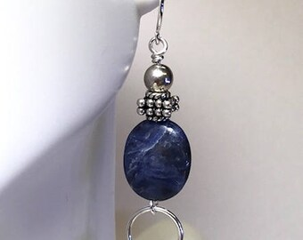 Molten Silver and Sodalite Earrings