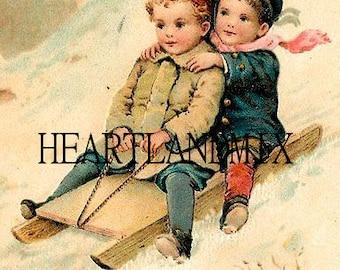 Vintage Christmas Image Digital Download Printable Sledding on Antique Sled