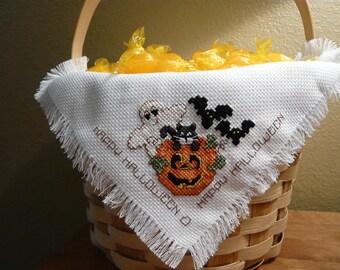 Halloween Cross Stitched Basket Liner Bread Cloth - Halloween decoration - Home decor