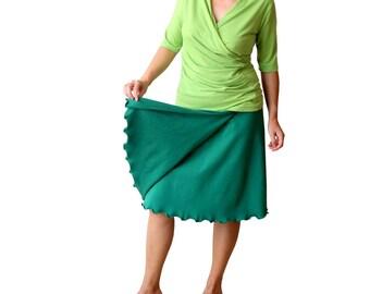 Wrap skirt, Aline skirt, Plus size skirt, Green skirt, Summer skirt, Knee length skirt, Plus size clothing, Custom skirt, Womens skirt