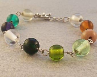Multi Color Bead Bracelet - Beaded Link Bracelet - Toggle Bracelet - Green and Brown Beaded Bracelet - Green and Purple Beaded Bracelet
