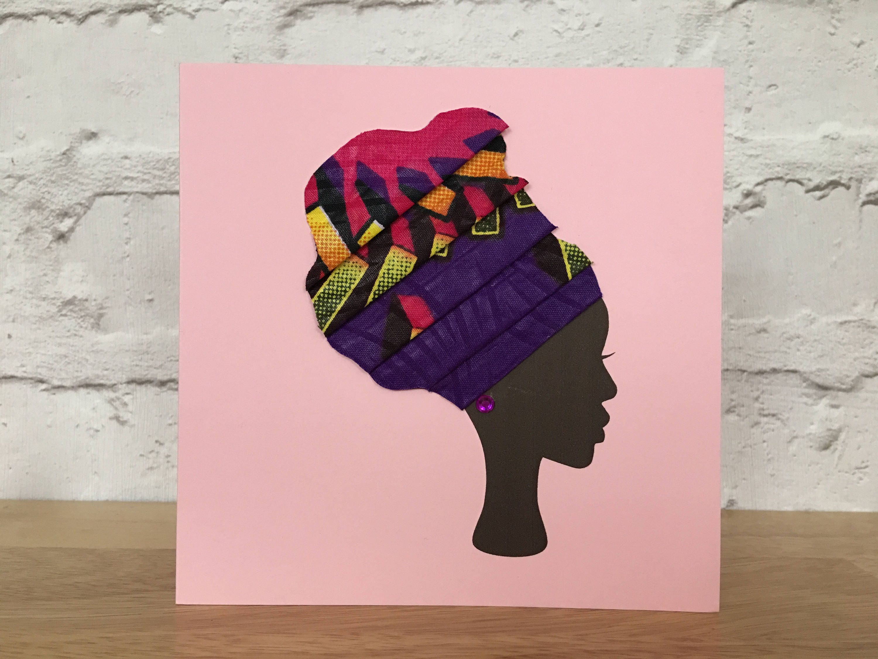 African Print Blank Greeting Cards In Fabric Ethnic Card