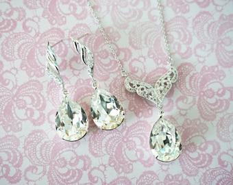 Fina - Silver Cubic Zirconia Swarovski Teardrop Crystal Earrings, Bridesmaid earrings, Bridal Wedding Jewelry, white weddings Aurora