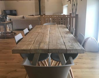 Exceptionnel Reclaimed Industrial Chic A Frame 6 8 Seater Dining Table Grey   Bar Cafe  Restaurant Furniture Steel Solid Wood Metal Made To Measure 574