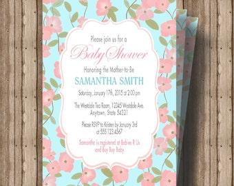 Baby Shower Invitation for Girl Baby Shower or Boy Baby Shower/Beautiful Turquoise Blue and Pink Floral Shower Invitation/Gender Neutral