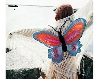 Butterfly Shawl Crochet Pattern Vintage Crochet Wrap Shawl Pattern Womens PDF Instant Download C75