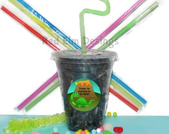Dinosaur Party Cups, Kids Birthday Party Cups, 20 Cups, Dinosaur Party Cups, Straws and Lids, 12 Ounce Cups