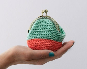 Crochet coin purse, kiss lock coin purse, color block coin purse, the Mint Keeper, in mint and coral