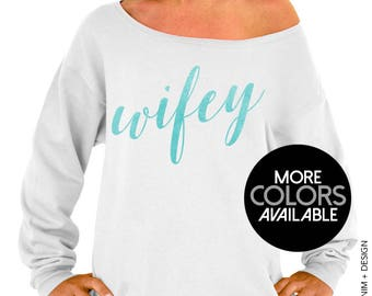 Wifey - Rose and Pearl Collection - AQUA, BLACK and WHITE ink - Slouchy Oversized Sweatshirt - Gray, Black and White Sweaters, Bride Sweater