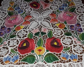 Kalocsa embroidered table middle . Beautifully hand embroidered and scalloped