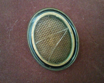 Antique Victorian Mourning Hair Brooch Pendant Jewelry Woven Hair