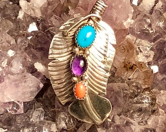 MothersDaySale Beautiful Native American Sterling Silver  RARE Sleeping Beauty Turquoise Amethyst Coral  Native American Feather Brooch
