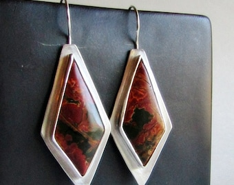 Cherry Creek Jasper Earrings - Kite Shaped Earrings - Modern Bohemian Jewelry - 25th Anniversary Gift