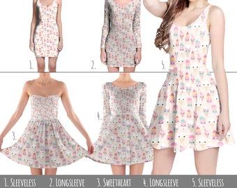 Kawaii Icecream - Dress in XS-3XL - Flared, Bodycon, or Skater Style 000738