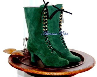 Victorian Boots , Emerald Green Victorian boots , Edwardian Booties , Historical Green suede leather Boots , Ankle Green Boots