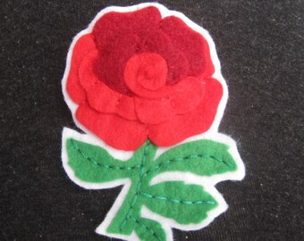 English Rose Brooch, Six Nations Felt Rugby Supporter Brooch