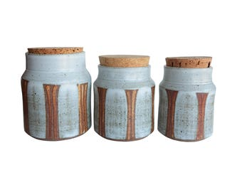 Striped Studio Pottery Canisters - Set of 3 Lidded Kitchen Canisters with Cork Tops - Orange Striped