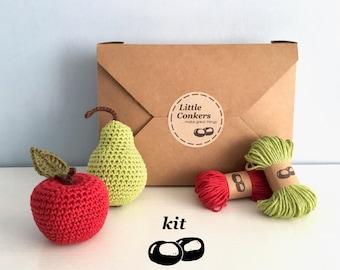 Crochet Kit / DIY Kit Crochet Fruit / Crochet Gift / Eco-friendly Craft Kit / Apple Pear / Gift for Crocheter / Beginner Crochet Kit