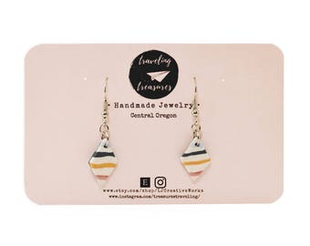 Handmade clay dangle stripe earrings