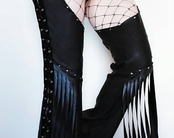 Chaps/gothic trousers/stage wear/biker pants/witchy pants/hotpants/gothic chaps/gorhic pants/biker clothing/dance wear/stage wear/rock