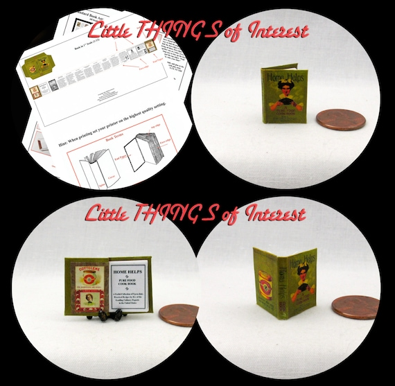 HOME HELPS Cookbook Downloadable 1:12 Miniature Dollhouse Scale Book PDF Tutorial Printie Printable Download Instant Project Kitchen