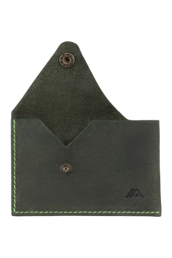 Green Leather Business Card Holder Minimalist Wallet Slim
